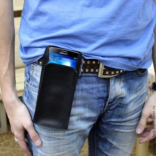 Для телефонов ручной работы. Ярмарка Мастеров - ручная работа. Купить Кожаный чехол под большой мобильный телефон. Handmade. Черный