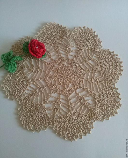 Текстиль, ковры ручной работы. Ярмарка Мастеров - ручная работа. Купить Салфетка крючком №1. Handmade. Бежевый, салфетка крючком