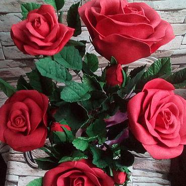 Цветы и флористика ручной работы. Ярмарка Мастеров - ручная работа Красные розы. Handmade.