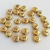 Материалы для творчества ручной работы. Ярмарка Мастеров - ручная работа Бусины-буквы металлические, золото. Handmade.