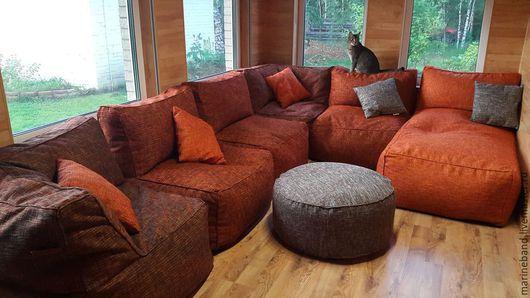 """Мебель ручной работы. Ярмарка Мастеров - ручная работа. Купить Модульный диван """"Апельсиновый тайфун"""". Handmade. Рыжий, Мебель, интерьер"""
