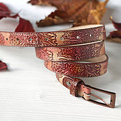 Аксессуары handmade. Livemaster - original item Narrow leather belt with embossing and painting the colors of Autumn. Handmade.