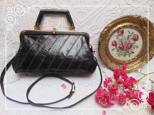 Винтажные сумки и кошельки. Ярмарка Мастеров - ручная работа. Купить Винтажная сумка-ридикюль  из натуральной кожи, Англия, 90-е. Handmade.