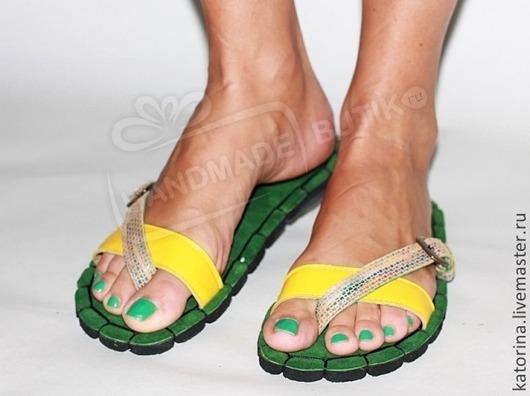 Кожаные сандалии Настроение Зеленые с желтым. Любые размеры и цвета на заказ!