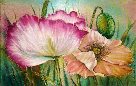 """Картины цветов ручной работы. Ярмарка Мастеров - ручная работа. Купить Картина на атласе """"Маки"""". Handmade. Цветы, сад, дом"""