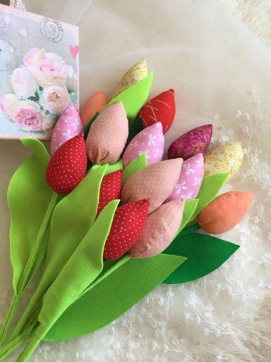 Цветы ручной работы. Ярмарка Мастеров - ручная работа. Купить Тюльпаны Тильды. Handmade. Разноцветный, подарок женщине, фетр