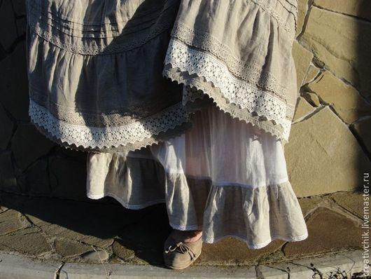 Юбки ручной работы. Ярмарка Мастеров - ручная работа. Купить Юбка летняя Лен и Кружева. Handmade. Натуральные ткани