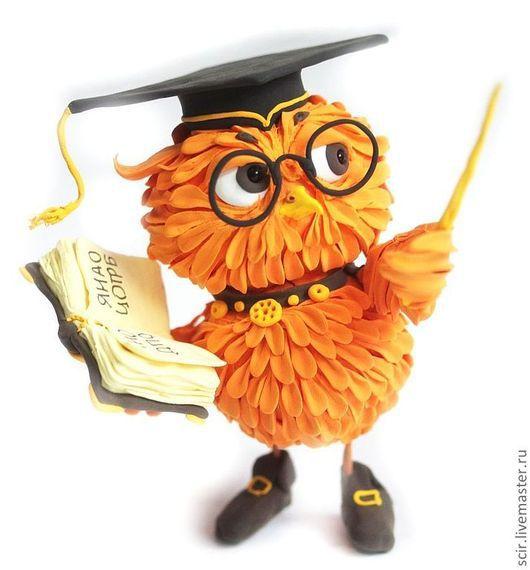 """Игрушки животные, ручной работы. Ярмарка Мастеров - ручная работа. Купить фигурка маленькая """"Сова с книгой"""" (апельсиновый, рыжий, оранжевый). Handmade."""