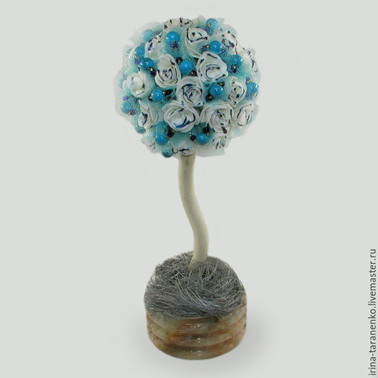 Дерево-топиарий из бирюзы `Бирюзовая фантазия`
