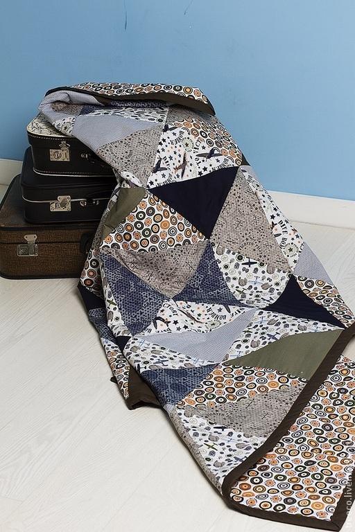 Текстиль, ковры ручной работы. Ярмарка Мастеров - ручная работа. Купить Лоскутное одеяло для мальчика. Handmade. Тёмно-синий