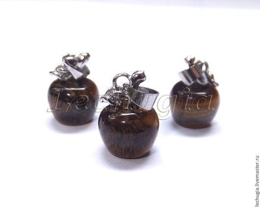 """Для украшений ручной работы. Ярмарка Мастеров - ручная работа. Купить Подвеска """"Яблоко"""" из тигр.глаза, 10 мм. Handmade."""
