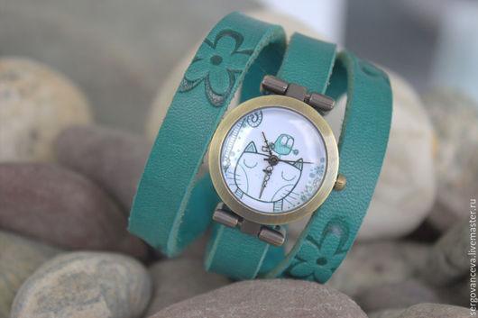 """Часы ручной работы. Ярмарка Мастеров - ручная работа. Купить Часы наручные """"Киска"""". Handmade. Тёмно-бирюзовый, котик"""