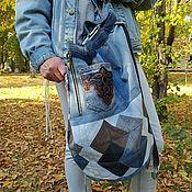 handmade. Livemaster - original item Octagon denim backpack. Handmade.