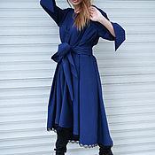 Платья ручной работы. Ярмарка Мастеров - ручная работа Темно-синее платье из холодной шерсти - DR0099CW. Handmade.
