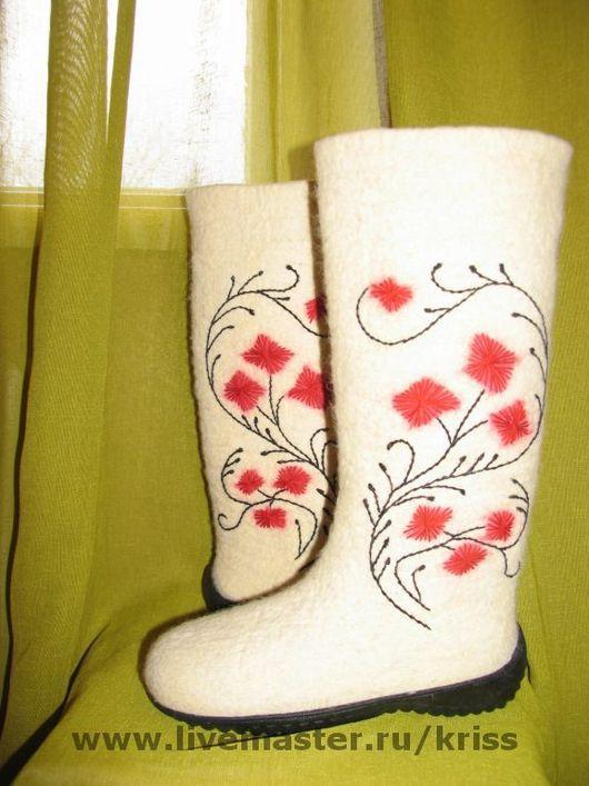 Обувь ручной работы. Ярмарка Мастеров - ручная работа. Купить валенки Ожидание Весны. Handmade. Валенки, валяная обувь