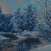 """Картины и панно ручной работы. Ярмарка Мастеров - ручная работа Вышитая картина """"Зимовье"""". Handmade."""
