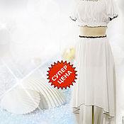 Одежда ручной работы. Ярмарка Мастеров - ручная работа Летний белый костюм в горошек. Белые ракушки. Скидка -30. Handmade.