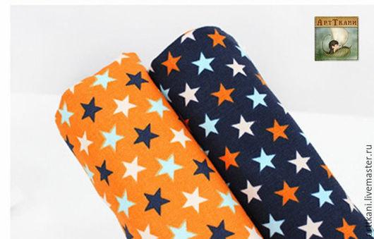 """Шитье ручной работы. Ярмарка Мастеров - ручная работа. Купить 100% хлопок оксфорд, Корея """"Звёзды на синем и оранжевом"""". Handmade."""