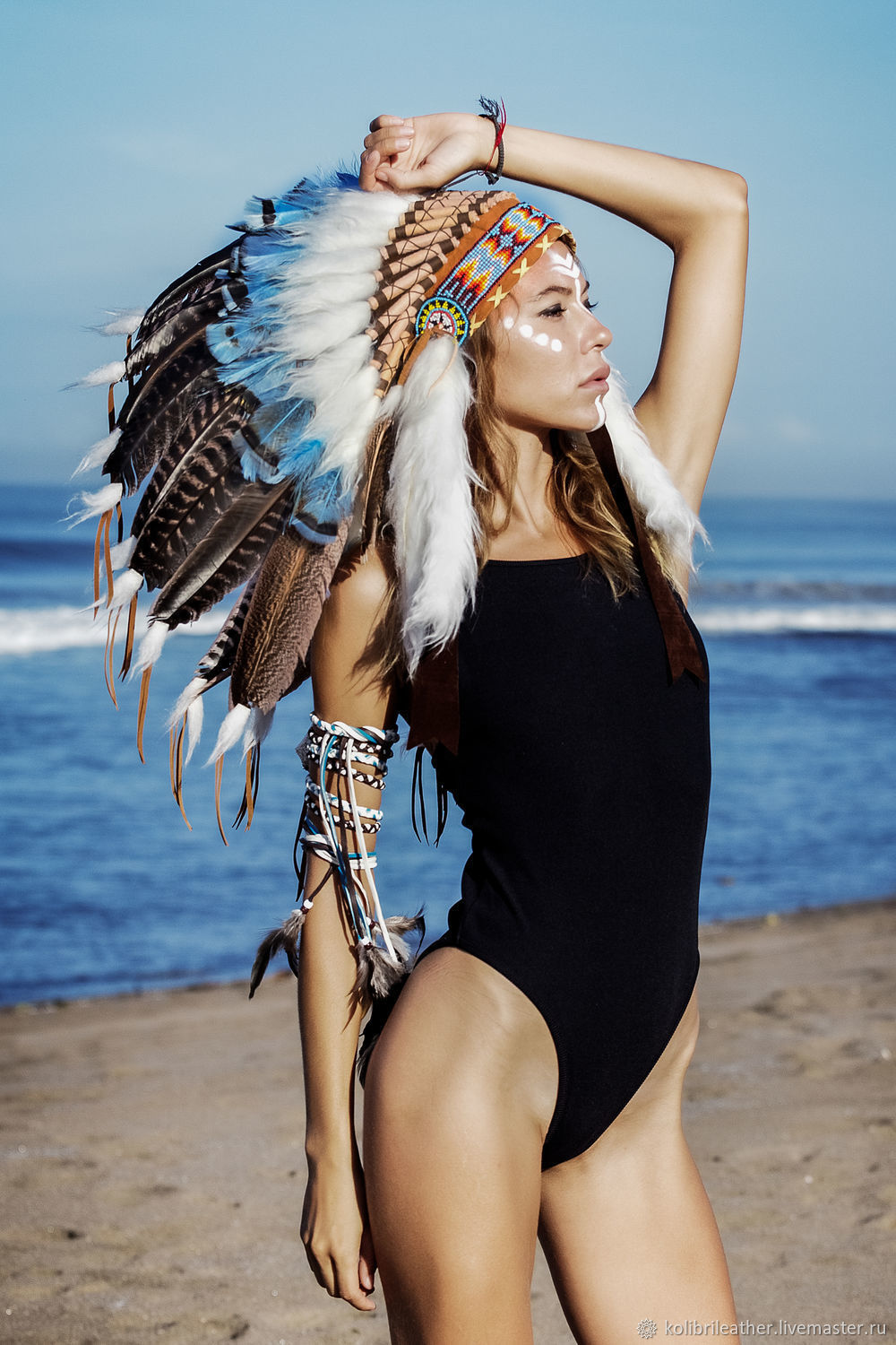 Indian hat with feathers. Indian Christmas costume. Indian roach, Suits, Chelyabinsk,  Фото №1