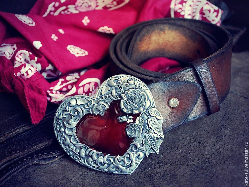 Пояс из натуральной кожи с сердцем и розами, Ремни, Москва,  Фото №1