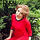 Платья ручной работы. Красное платье с контрастной отделкой. Dudu-dress. Ярмарка Мастеров. Контрастное платье, платье с рукавами