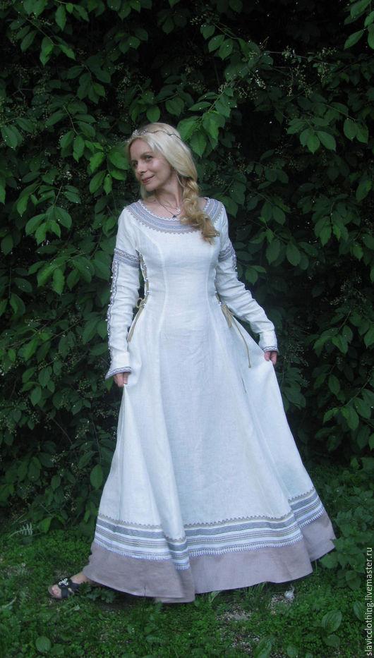 """Платья ручной работы. Ярмарка Мастеров - ручная работа. Купить платье""""Леля"""". Handmade. Белый, средневековое платье, лён 100%"""