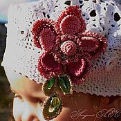 Работы для детей, ручной работы. Ярмарка Мастеров - ручная работа Белый ажурный летний берет с цветком для девочки. Handmade.