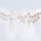 Украшения ручной работы. Ярмарка Мастеров - ручная работа 8222 Шпилька для вуали, Розовые кристаллы Крепление для фаты Свадебные. Handmade.