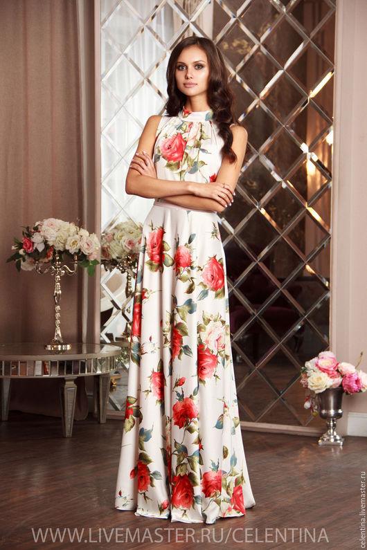 длинное белое платье, нарядное цветочное платье, платье без рукавов, плате нарядное в пол, платье до пола, платье белое, белое платье, платье белое цветочное, платье для гостя на свадьбу.