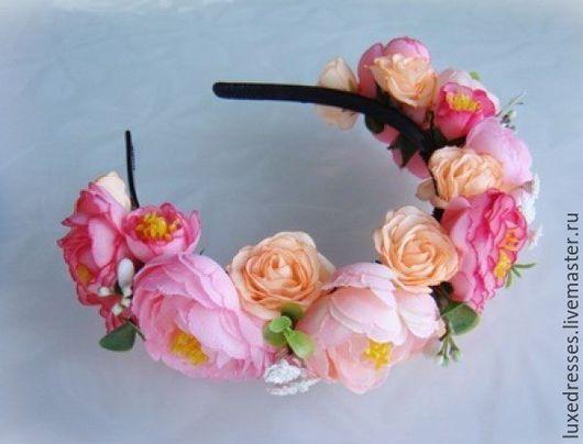 """Повязки ручной работы. Ярмарка Мастеров - ручная работа. Купить Ободок """"Нежность"""". Handmade. Цветы, ободок с цветами, розовый, ткани"""
