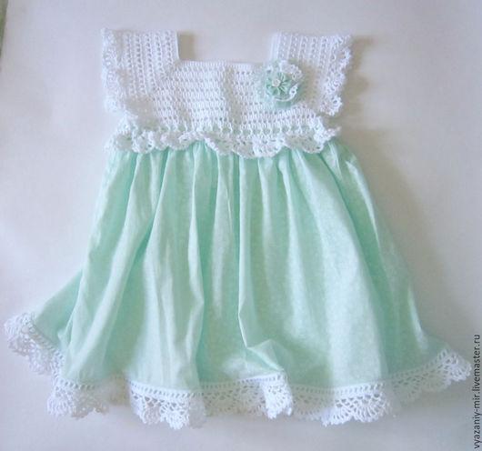 Одежда для девочек, ручной работы. Ярмарка Мастеров - ручная работа. Купить Платье нарядное мятное с брошкой и кружевами. Handmade. Мятный