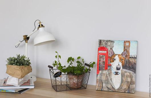 Животные ручной работы. Ярмарка Мастеров - ручная работа. Купить Картина маслом. Бультерьер из Лондона. Handmade. Комбинированный, портрет собаки