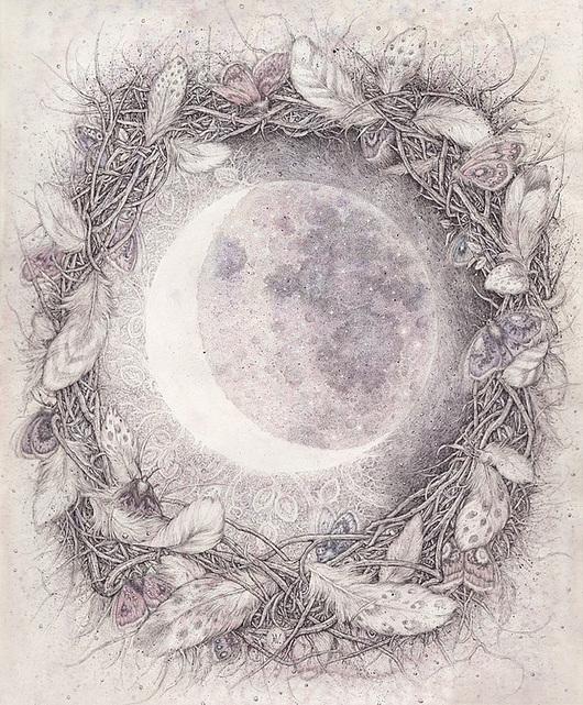 Фантазийные сюжеты ручной работы. Ярмарка Мастеров - ручная работа. Купить Когда я смотрю на Луну. Handmade. Бледно-сиреневый, сон