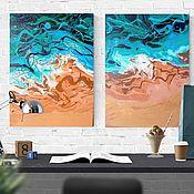 Элементы интерьера ручной работы. Ярмарка Мастеров - ручная работа Картина Морская волна абстрактная Диптих флюид-арт. Handmade.