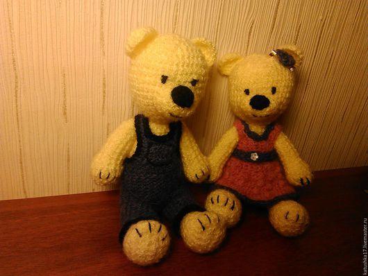 """Игрушки животные, ручной работы. Ярмарка Мастеров - ручная работа. Купить вязанный медвежонок """"друг модницы"""". Handmade. Лимонный, сувенир"""
