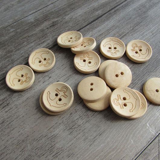 Пуговица деревянная круглая с Якорем, 275