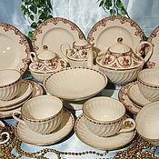 Сервизы винтажные ручной работы. Ярмарка Мастеров - ручная работа ЛФЗ чайный сервиз волна 22 предмета позолота красное клеймо. Handmade.