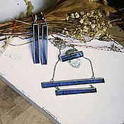 Украшения ручной работы. Ярмарка Мастеров - ручная работа Комплект из витражного синего стекла. Handmade.