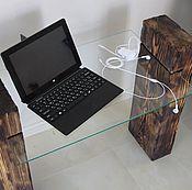 Для дома и интерьера ручной работы. Ярмарка Мастеров - ручная работа столик из натурального дерева со стеклянной поверхностью. Handmade.