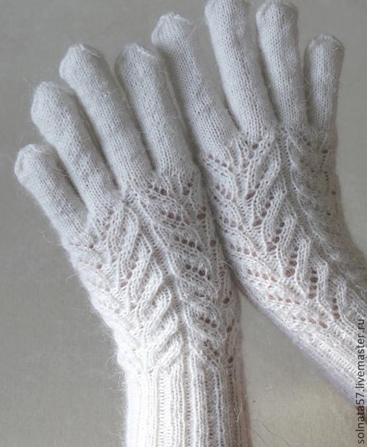 """Варежки, митенки, перчатки ручной работы. Ярмарка Мастеров - ручная работа. Купить Перчатки """"Колосок"""". Handmade. Белый, вязаные перчатки"""