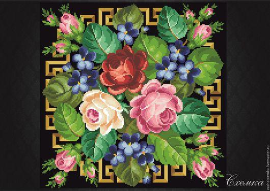 """Вышивка ручной работы. Ярмарка Мастеров - ручная работа. Купить Ретро схема """" Три розы в букете """" (№31). Handmade."""