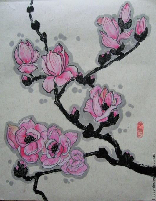 Картины цветов ручной работы. Ярмарка Мастеров - ручная работа. Купить Магнолия. Handmade. Розовый, подарок женщине, подарок подруге