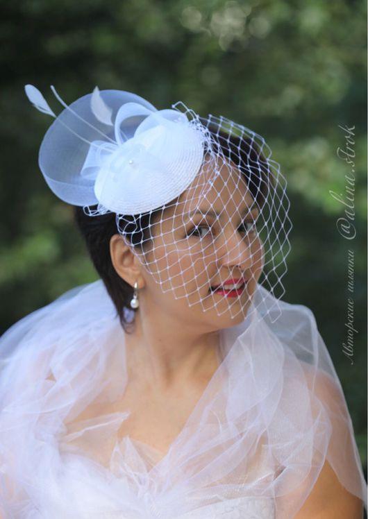 """Одежда и аксессуары ручной работы. Ярмарка Мастеров - ручная работа. Купить """"Alice"""" - белая свадебная шляпка с вуалью и перьями. Handmade."""