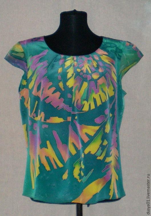 Блузки ручной работы. Ярмарка Мастеров - ручная работа. Купить Блуза-Батик''Ритм''. Handmade. Бирюзовый, блузка из шелка, шёлк натуральный