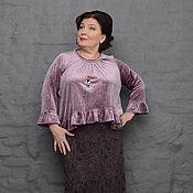 Одежда handmade. Livemaster - original item Blouse velvet ruffle dusty purple. Art.1606. Handmade.