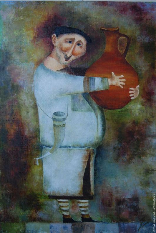 Юмор ручной работы. Ярмарка Мастеров - ручная работа. Купить Картина Грузин. Handmade. Разноцветный, кувшин, интерьер, холст на подрамнике
