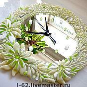 """Для дома и интерьера ручной работы. Ярмарка Мастеров - ручная работа часы-зеркало """"с нежным вкусом лайма"""" фьюзинг. Handmade."""