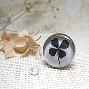 Украшения handmade. Livemaster - original item Large Ring Dark Green Leaf Clover Four Leaf. Handmade.