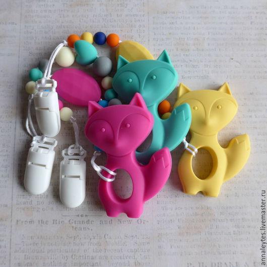 Развивающие игрушки ручной работы. Ярмарка Мастеров - ручная работа. Купить Силиконовый грызунок Кошко-лиса. Handmade. Силиконовый грызунок