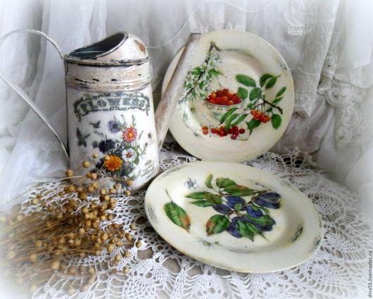 Натюрморт ручной работы. Ярмарка Мастеров - ручная работа. Купить пара декоративных тарелок из серии Мой сад вишня,слива. Handmade.